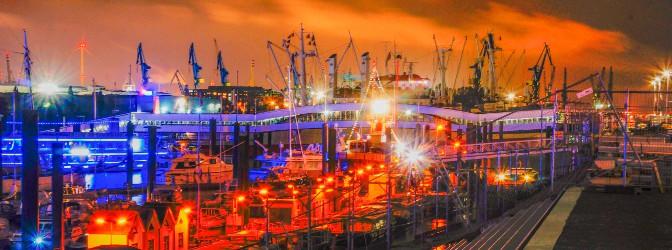 Hafenkräne hinter den Landungsbrücken